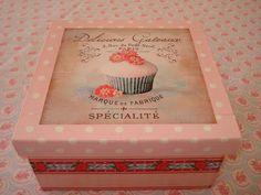"Naranja y Fucsia: Caja de Té ""Cupcake"""