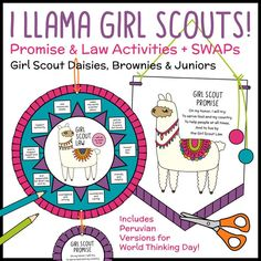 I Llama Girl Scouts! by Growing Girls Scouting Helpers Girl Scout Daisy Petals, Daisy Girl Scouts, Girl Scout Daisies, Girl Scout Badges, Brownie Girl Scouts, Girl Scout Law, Scout Mom, Brownies Activities, Girl Scout Promise