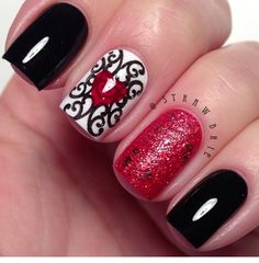 Queen of Hearts #Red #Black #White #Heart #Nails @Hannah Mestel Barber on Instagram.