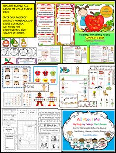 HEALTHY EATING and ALL ABOUT ME-two cross curricular theme packs packed with literacy, numeracy, science and art ideas and tools. http://www.teacherspayteachers.com/Product/All-About-Me-My-Body-Feelings-5-Senses-Healthy-Eating-BUNDLE-MEGA-PACK-1186190
