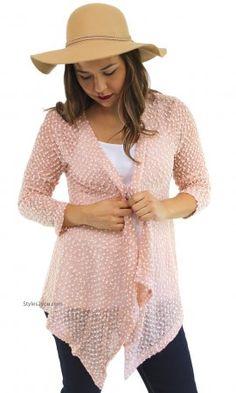 Liam Ladies Lightweight Knit Sweater Cardigan Bolero In Pink