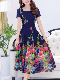 3cbf28bc85f Floral Printing Chiffon Slim Dress(sizes M-3XL) Maxi  Dress DRESSES Wholesale clothing