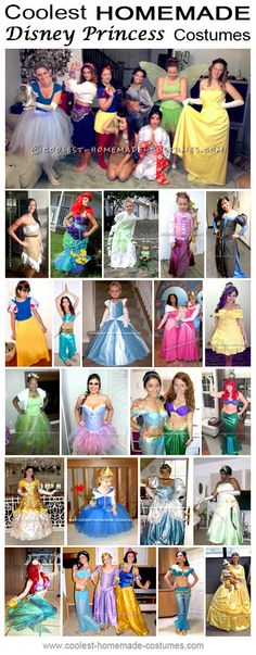 Discover how to create your best homemade Disney Princess costumes. Take a look at the DIY costumes here and just let the store-bought costumes go! Halloween Costumes For Teens, Halloween Costume Contest, Cool Costumes, Diy Disney Costumes, Costume Ideas, Disney Princess Halloween Costumes, Party Costumes, Halloween 2017, Halloween Ideas