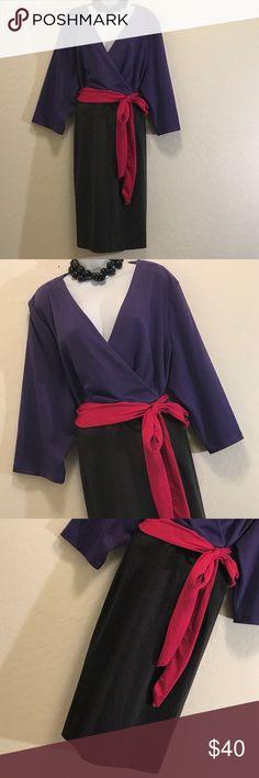 👗Lane Bryant Color Block Wrap Dress Excellent Condition, Stretch, Pink Side Tie Belt, Elbow Sleeve, Heavy. Lane Bryant Dresses