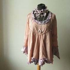 Mori Girl Tunic Blouse with Knotted Necklace, Salmon Pink Shirt, Antique Rose Pink Shabby Chic Blouse, Upcycled Recycled Repurposed Clothing by GarageCoutureClothes on Etsy