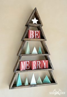 Spice up your holiday with a cute Be Merry Wood Christmas Tree. The perfect DIY project for any Christmas lover. Check out the plans on Tinsel + Wheat.