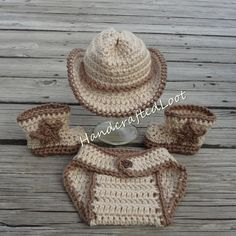Crochet Newborn Baby Cowboy Hat & Boots Photo Prop Outfit Set Shower Gift…