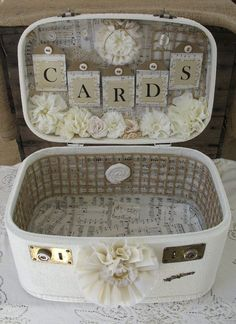 Tipi wedding inspiration loved by beautifulworldtents.co.uk - Vintage Suitcase Wedding Card Box