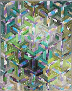 quilt by Ursula Kern Batik Quilts, 3d Quilts, Scrappy Quilts, Quilting Projects, Quilting Designs, Cubes, Quilt Modernen, String Quilts, Contemporary Quilts