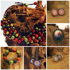 Manzuko, autumn, fal,l neclace, bracelet, earrings, ceramic beads, glass cabochon
