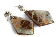 Super cool stylish boulder opal earrings for people of all ages from all walks of life. Be a style seeker & wear defining gemstone jewelry. Boho Jewelry, Gemstone Jewelry, Jewelry Design, Opal Earrings, Sterling Silver Earrings, Boho Fashion, Cuff Bracelets, Gypsy, Bling