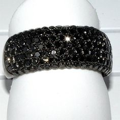 mens wedding bands with black diamond in 14k white gold designer