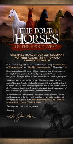 Meet The Black Horse of Famine this Sunday, August 30, 2015 GETV.ORG