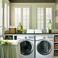 Southern Living - laundry/mud rooms - Sherwin Williams - Accessible Beige - cottage laundry room, laundry room, laundry room ideas, accessib...