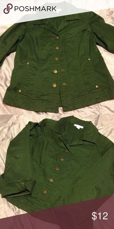 Dress Barn Olive Green Jacket Cute Olive green jacket with decorative brass color snaps - 98% cotton 2% spandex. Excellent condition. Machine wash cold/tumble dry medium. Smoke free and pet free home. Dress Barn Jackets & Coats
