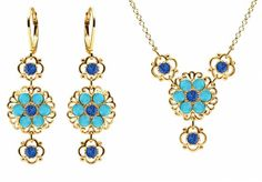Lucia Costin Jewelry Set Necklace and Earrings Made in 24K Yellow Gold over 925 Sterling Silver with Blue and Turquoise Swarovski Crystals and Filigree Ornaments Crafted with 4 Petal Flowers ** Check out the image by visiting the link.