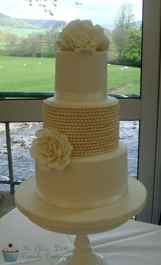 Vintage Lace and Pearl Cake - by CleverLittleCupcake @ CakesDecor.com - cake decorating website