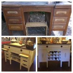 Teacher's desk made into a beautiful Kitchen Island.