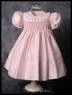 Smocked silk seersucker yoke dress by kathy m d, via Flickr