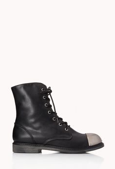 Street-Chic Combat Boots | FOREVER21 Ready for combat #Boots #FauxLeather #MetalToe