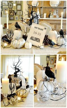 To the Moon and Back has a creative Burlap Tablecloth Halloween Tablescape – Make sure to save the date for October 31st! 31 Inspiring Halloween Mantles and Tablescapes to dress up your home this October Season on Frugal Coupon Living.