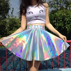 Image of Made To Order - Holographic Circle Skirt Cool Outfits, Fashion Outfits, Womens Fashion, Style Fashion, Skirt Fashion, Holographic Fashion, Holographic Fabric, Mode Lolita, Gyaru