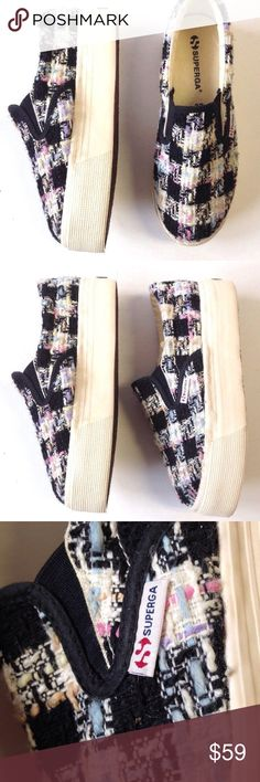 SUPERGA BOUCLE TWEED PLATFORM SLIP ON SNEAKERS 37 SUPERGA BOUCLE TWEED PLATFORM SLIP ON SNEAKERS  Women's size EU 37  Worn a few times. Clean insole. Light wear on the bottom 1.5'' Platform 10'' Sole Length Superga Shoes Sneakers