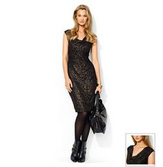 Dresses. A draped neckline and side shirring give this lace dress from Lauren Ralph Lauren a figure flattering fit you're sure to love. Featured in black / gold Draped neckline Cap sleeves Shirred at the left waist Allover sparkling metallic lace Pull on styling Hits at the knee Fully lined Nylon/polyester/elastane Imported