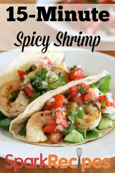 Miss Summer? Give this Spicy Garlic and Lime Shrimp #recipe a whirl. Add a little hot salsa if you're really missing the heat!  #tacos #shrimp #quick