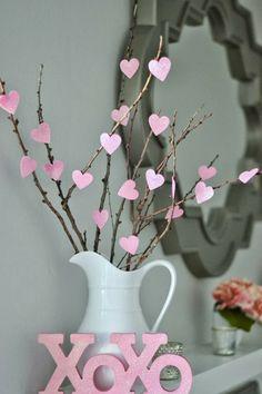 diy valentinstag dekoideen dekovase herzen zweige