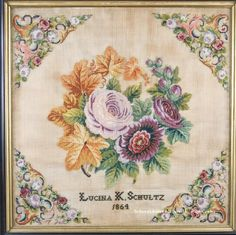 A Lovely 19th Century Sampler Stitched By Lucina K Schultz & Dated 1864