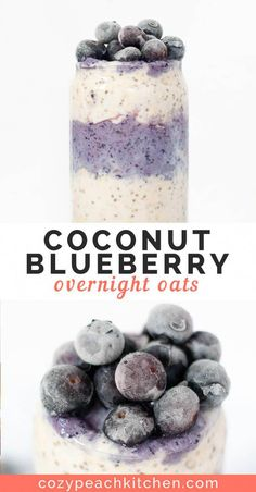 Coconut Blueberry Overnight Oats are an easy and healthy breakfast recipe. Coconut Blueberry Overnight Oats are an easy and healthy breakfast recipe. This oatmeal is made with coconut milk and non-dairy milk, so it's vegan and delicious! Blueberry Overnight Oats, Overnight Oatmeal, Overnight Oats Coconut Milk, Blueberry Breakfast, Healthy Overnight Oats, Vegan Breakfast, Coconut Oatmeal, Blueberry Juice, Overnight Breakfast