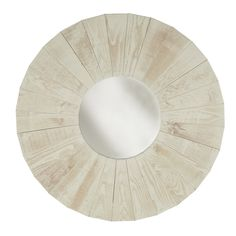 Round Dish Reclaimed Wood Mirror Wall Art