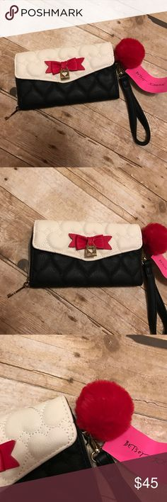 Betsey Johnson NWT WALLET I love this wAllet! NWT AND TOTALLY AUTHENTIC! Red black and white! Has a puff ball as well! Betsey Johnson Bags Wallets