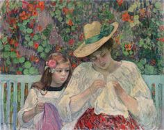 The Sewing Lesson | Henri Lebasque | oil painting