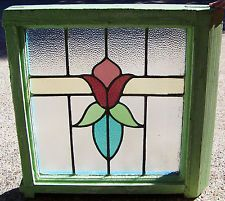 25x25 Old Vtg Art Deco Leaded 5 Colors Stained Glass Window Tulip Antique Frame Stained Glass Cabinets, Antique Stained Glass Windows, Stained Glass Designs, Stained Glass Panels, Stained Glass Projects, Stained Glass Patterns, Leaded Glass, Stained Glass Art, Mosaic Glass