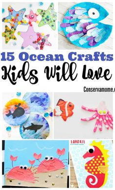 These fun Ocean Crafts will bring hours of fun to your little ones while they explore and create all things Under the sea w/ 15 Ocean Crafts Kids will love! Ocean Activities for Kids Ocean Animal Crafts, Ocean Crafts, Animal Crafts For Kids, Craft Activities For Kids, Toddler Crafts, Preschool Crafts, Fun Crafts, Art For Kids, Vocabulary Activities