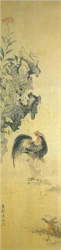 'Rooster' by Jang, Seung-eop. Late Joseon dynasty of Korea. India ink on Korean paper