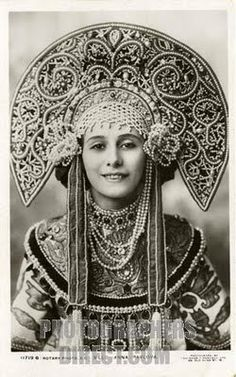 Anna Pavlova in Traditional Russian Kokoshnik