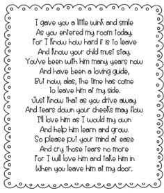 susan akins posted Free parent poem This reminds me of Jess's first day of grade . probably wished she had this note to give me . couldn't leave! to their -Preschool items- postboard via the Juxtapost bookmarklet. Back To School Night, 1st Day Of School, Beginning Of The School Year, School Fun, School Days, First Day Of School Quotes, Pre School, School Stuff, Parents Poem