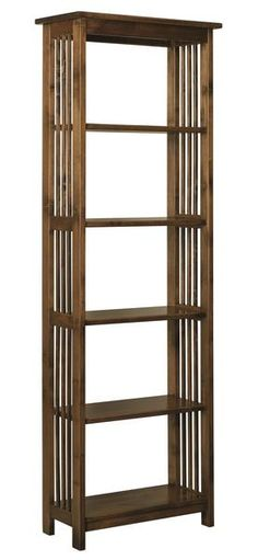 Amish Mission Tall Bookshelf You can go tall with it all with this solid wood bookcase. Define the look with choice of wood type and finish color. You can opt to have this bookshelf built with or without back paneling.