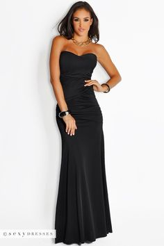 Long Mermaid Strapless Black Evening Dress#PinYourWish @ShopSexyDresses