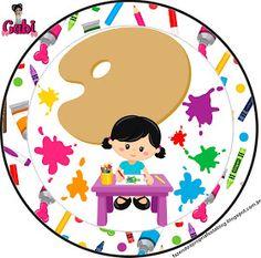 Fazendo a Propria Festa: Kit de Personalizados Gratuitos Tema Pintando o Sete Art Themed Party, Art Party, Party Themes, English Books For Kids, Head Start, Kids Education, Cute Cartoon, Decoupage, Happy Birthday
