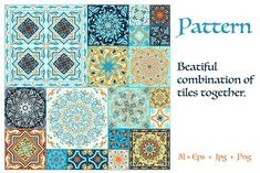 Ad: 70 Tile Patterns by Irina Skaska on I love flowing lines, interwoven patterns, bright colors. The pattern in the square - one of the variants of decoration ceramic tiles, Peeling Paint, Tile Patterns, Graphic Patterns, Vector Pattern, Mosaic Glass, Textile Design, Bright Colors, Folk, Illustration