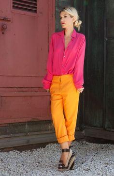 via Fashion Based    #pink #top #orange #pants #street #style #fashion #inspiration