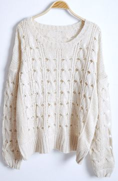 Beige Round Neck Long Sleeve Hollow Pullovers Sweater