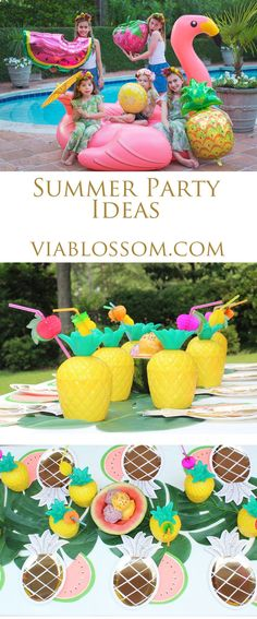 Must Have Summer Party Supplies and Ideas on the Via Blossom Blog! Everything you'll need to throw an amazing Summer Party or Tropical Party, or Flamingo Party or Tutti Frutti Party! Don't Miss out!
