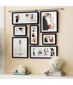 Wedding Photo Wall. Great for above our black dresser.