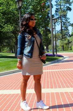 Comfortable and casual in a jean jacket, striped dress, Nike Runners, and a Chanel purse. Great outfit for a cool spring day! Mode Outfits, Dress Outfits, Casual Outfits, Dresses, Look Fashion, Girl Fashion, Fashion Outfits, Spring Summer Fashion, Spring Outfits