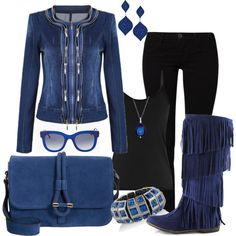 """""""Blue & Black Fall Winter Outfit"""" by lindakol on Polyvore"""
